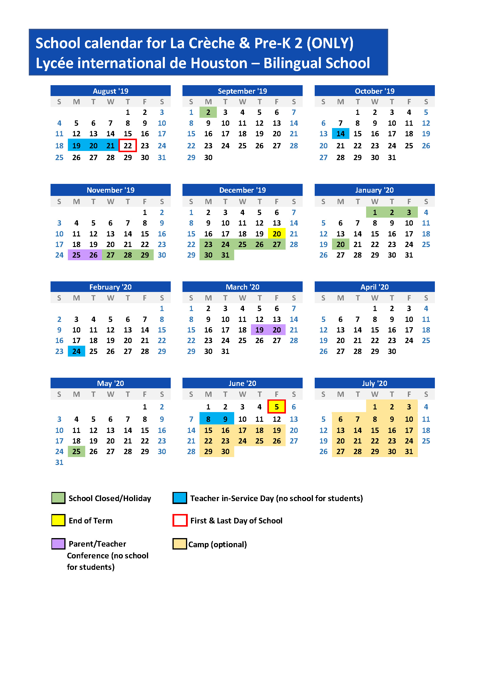 Houston Calendar Of Events August 2020.Lih Brochure And Calendars Lycee International De Houston